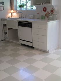 Grey And White Checkered Vinyl Floor Kitchen