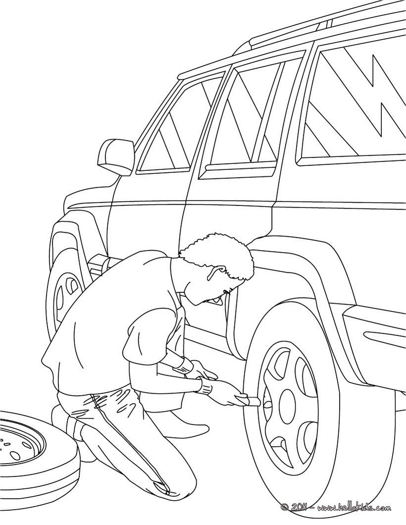 Mechanic changing a wheel coloring page. Amazing way for kids to ...