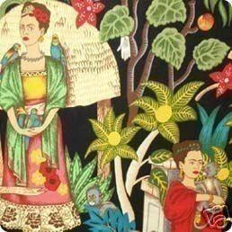Jardín de Kahlo - tela de Henry Alexander  Algodón / 44 de ancho  Sienta libre de entrarme en contacto con si usted necesita más yardas para un listado personalizado.  Esta tela es vibrante y lleno de un colorido paisaje de jardín. Hermosa