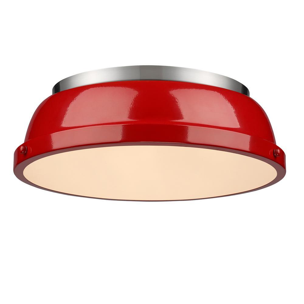 Golden lighting duncan light pewter flushmount with red shade