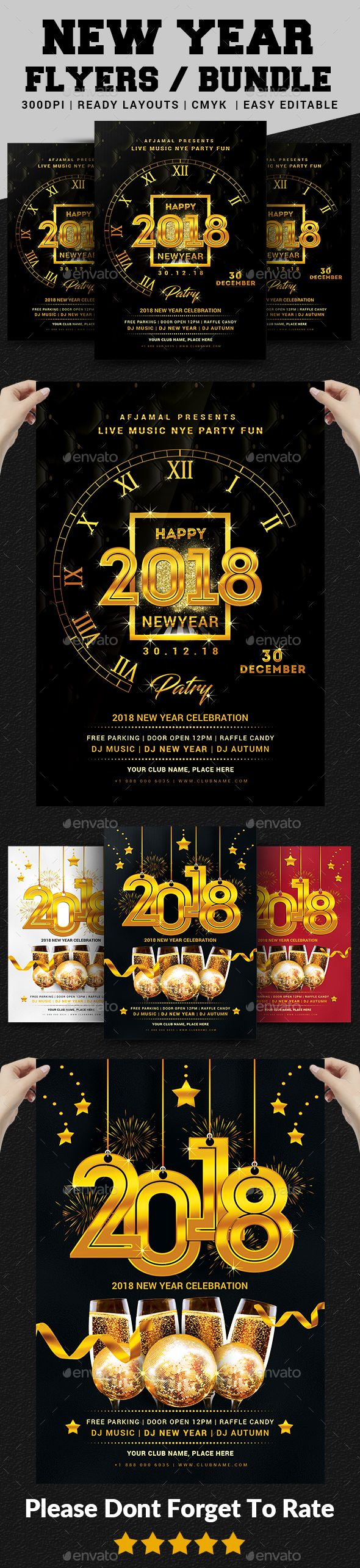 New Year Party Flyer Bundle  Party Flyer Event Flyers And