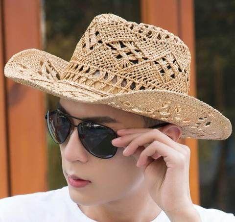 b40f21a5d80dbf Cool mens straw cowboy hats UV protection beach wear | straw beach ...