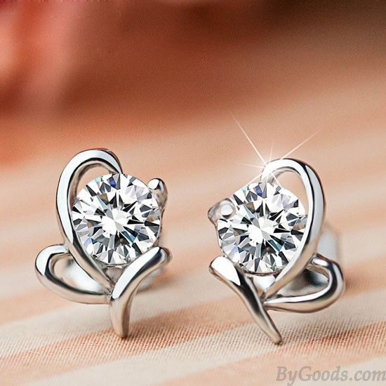 db2b252e85239 Stylish Shining Diamond Butterfly Zircon Silver Insect Earring Studs ...