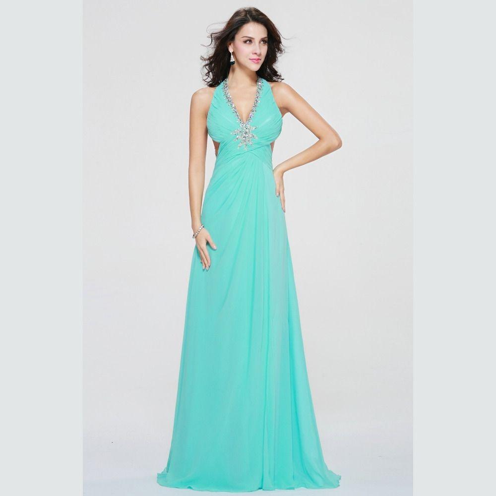 Sexy V-Neck Light Green Prom Dresses 2017 Floor Length Formal ...