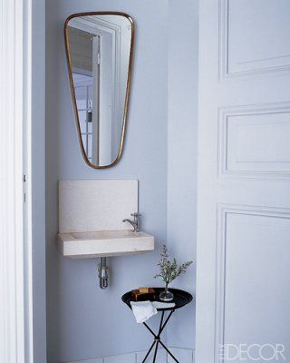 Captivating A Brass Mirror Hangs In The Powder Room Of The Paris Pied à Terre Shared By  Designer Steven Volpe And His Business Partner, Roth Martin, Who Helm The  San ...