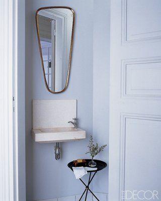 Superb Powder Room + 1950u0027s Brass Mirror