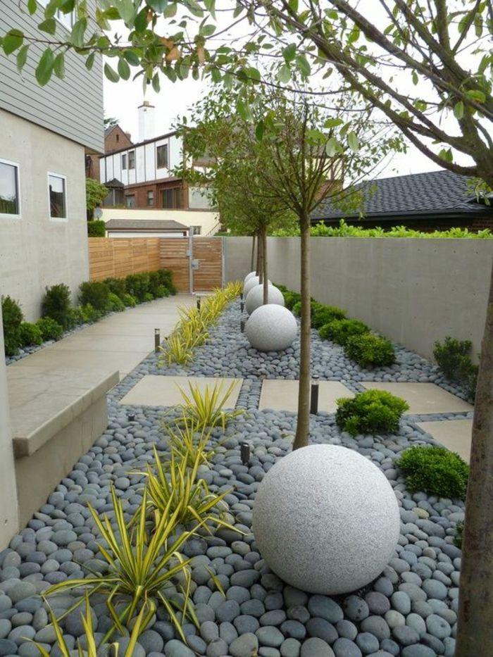 Kugel Aus Deko, Kleine Grüne Pflanzen, Kies Steine Und Kleine Bäume Gartengestaltung  Beispiele