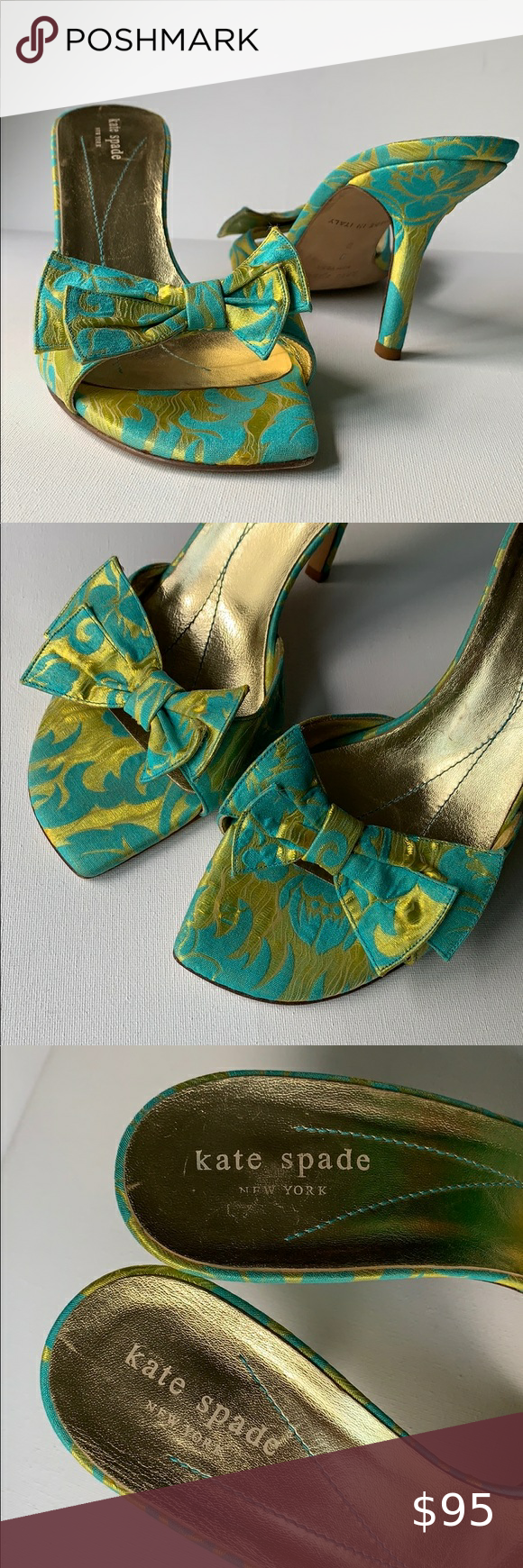 Kate Spade Brocade Bow Heel Slides Green Blue Kate Spade Brocade Bow Heel Slides...