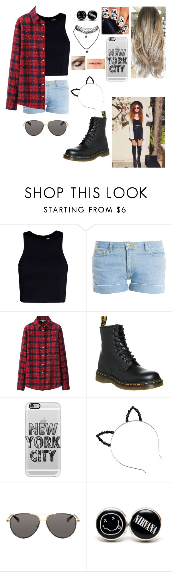 """""""With Mahogany Lox(Queen)"""" by mej979 ❤ liked on Polyvore featuring moda, T By Alexander Wang, Paul & Joe, Uniqlo, Dr. Martens, Casetify, The Row, Wet Seal, women's clothing i women's fashion"""