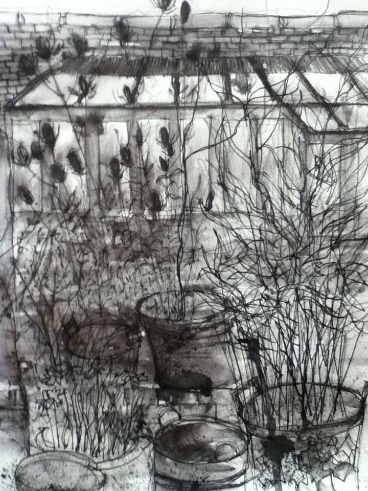 Yard And Greenhouse, Linley. Various inks and graphite.