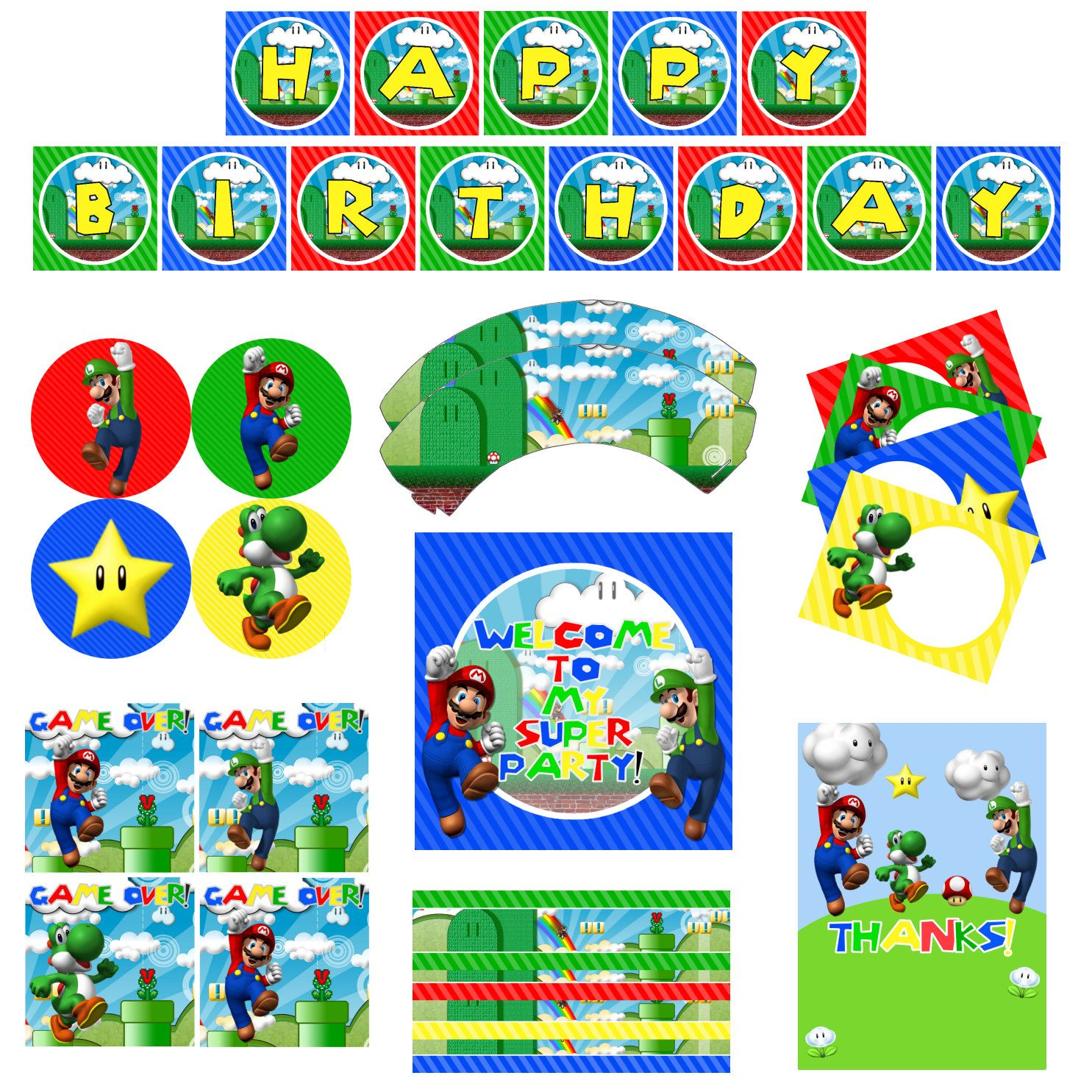 Super Mario Brothers Birthday Party Printable By