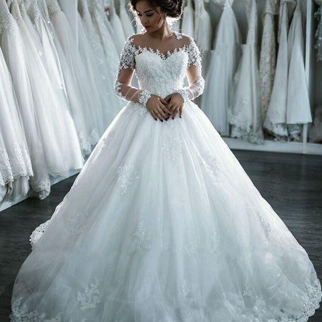 Appliques Wedding Dresses,Long Sleeve Wedding Gown,Princess Wedding ...