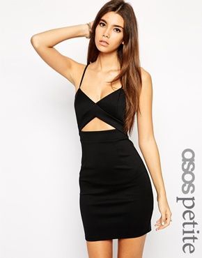f4c7645545a2 ASOS PETITE Exclusive Cut Out Front Bodycon Dress in Scuba | Outfits ...