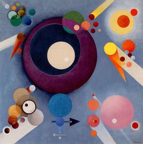 """Spiritual Pleasures by Rudolph Bauer, 1935-38, oil on canvas, 51 1/4 x 51 1/4"""", SquareCylinder.com<3<3<3"""