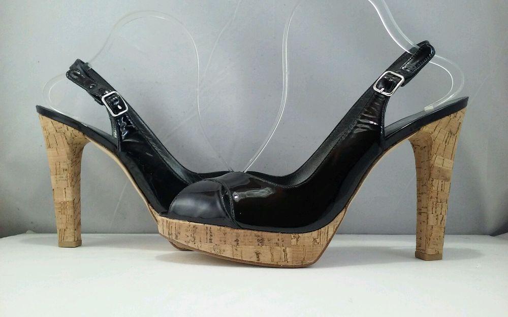 afec64d53707 Stuart Weitzman Exsling Black Patent Women s Platform High Heels Sandal 10  (B