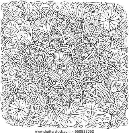Pattern for adult coloring book. Ethnic, floral, retro, doodle ...