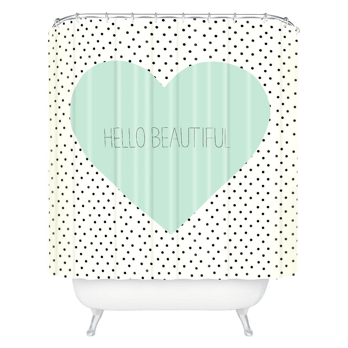 So cute for girls bathroom. DENY Designs Hello Beautiful Heart Shower Curtain