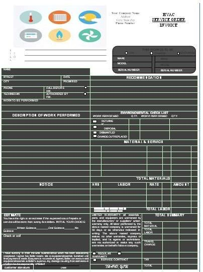 HVAC Invoice Templates Printable Free HVAC Invoice Templates - essential invoice elements
