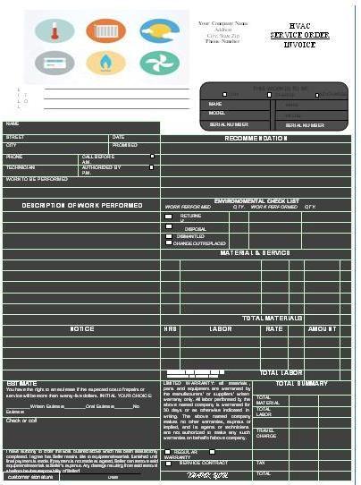 Hvac Invoice Templates Printable Free  Hvac Invoice Templates