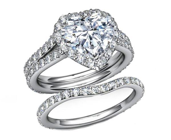 Engagement Ring Heart Shape Halo Pave Bridal Set ES1094HSBS