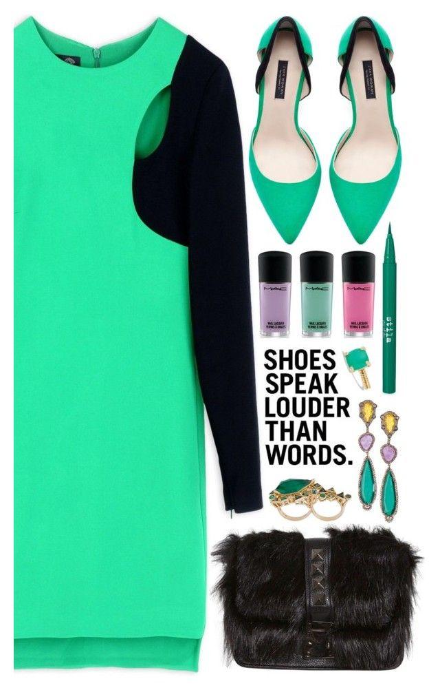 """Look # 806"" by lookat ❤ liked on Polyvore featuring Versace, Zara, Stila, MAC Cosmetics, Stephen Webster, David Yurman and mint"