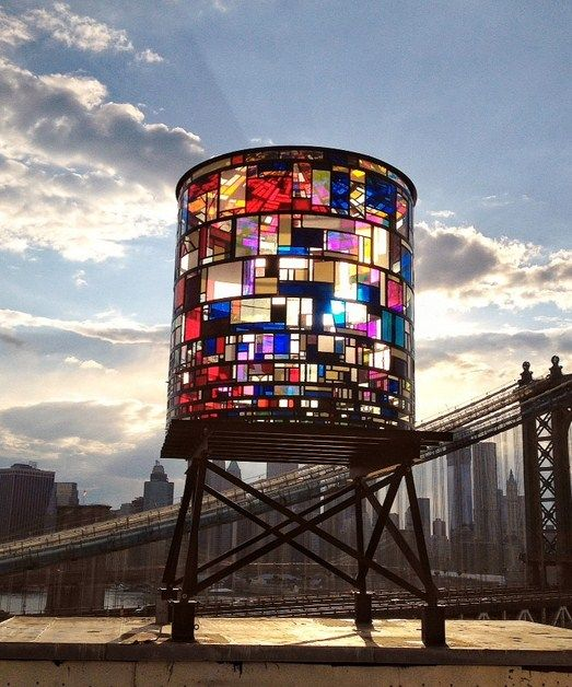 Stained glass water tower in Brooklyn It's by Tom Fruin.