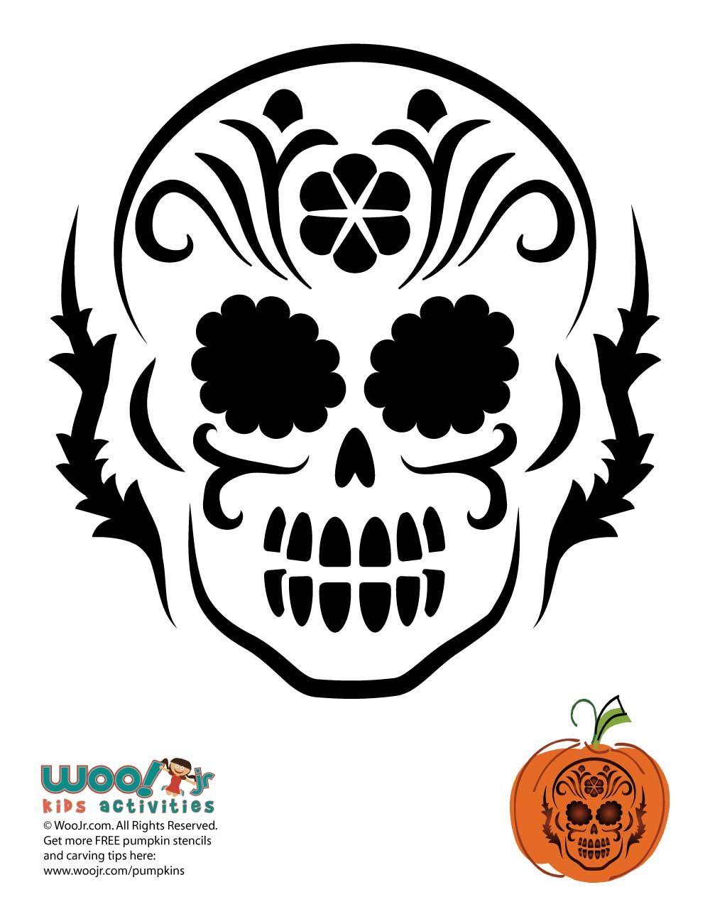 Dia De Los Muertos Skull Pumpkin Carving Halloween Pumpkin Stencils Skull Pumpkin Pumpkin Carvings Stencils