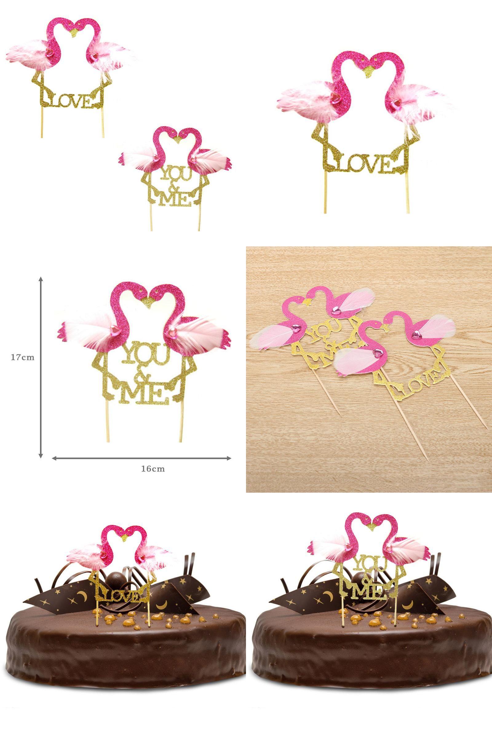 Visit To Flamingo Cake Topper Cupcake Picks Wedding Gold