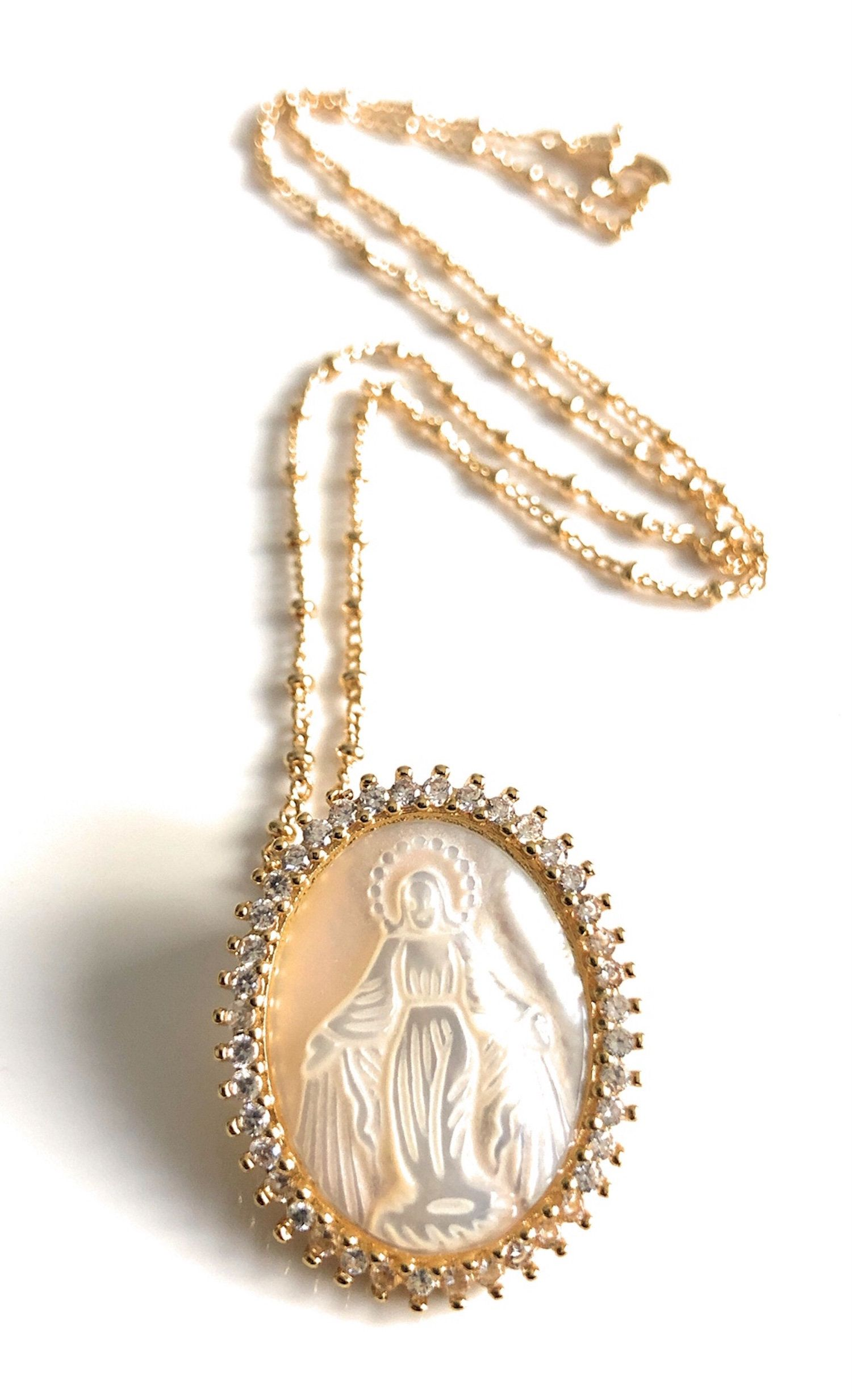 virgin gold necklace Virgin necklace lucky necklace miracle necklace religious necklace virgin Mary medallion virgin Mary necklace