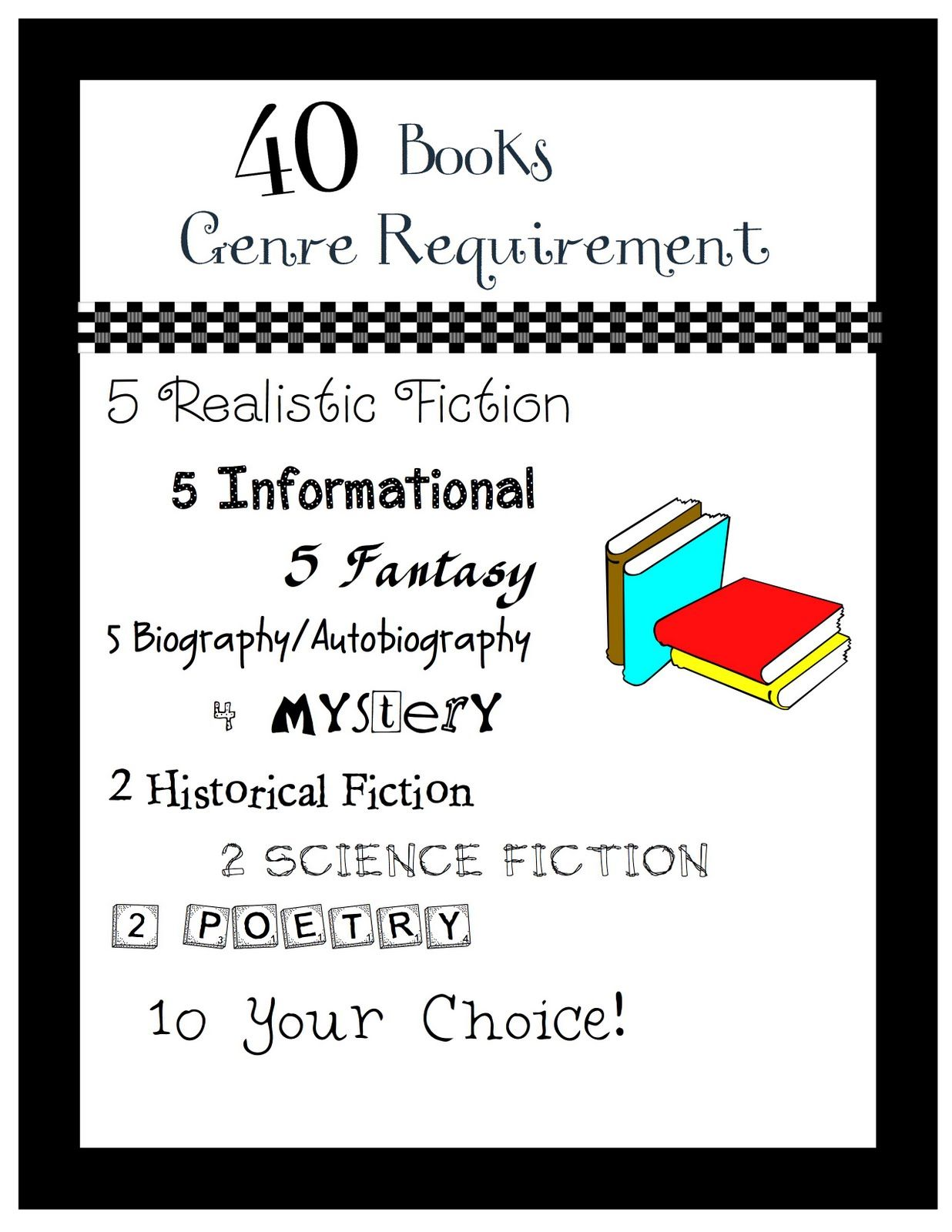 40 Books Genre Requirement