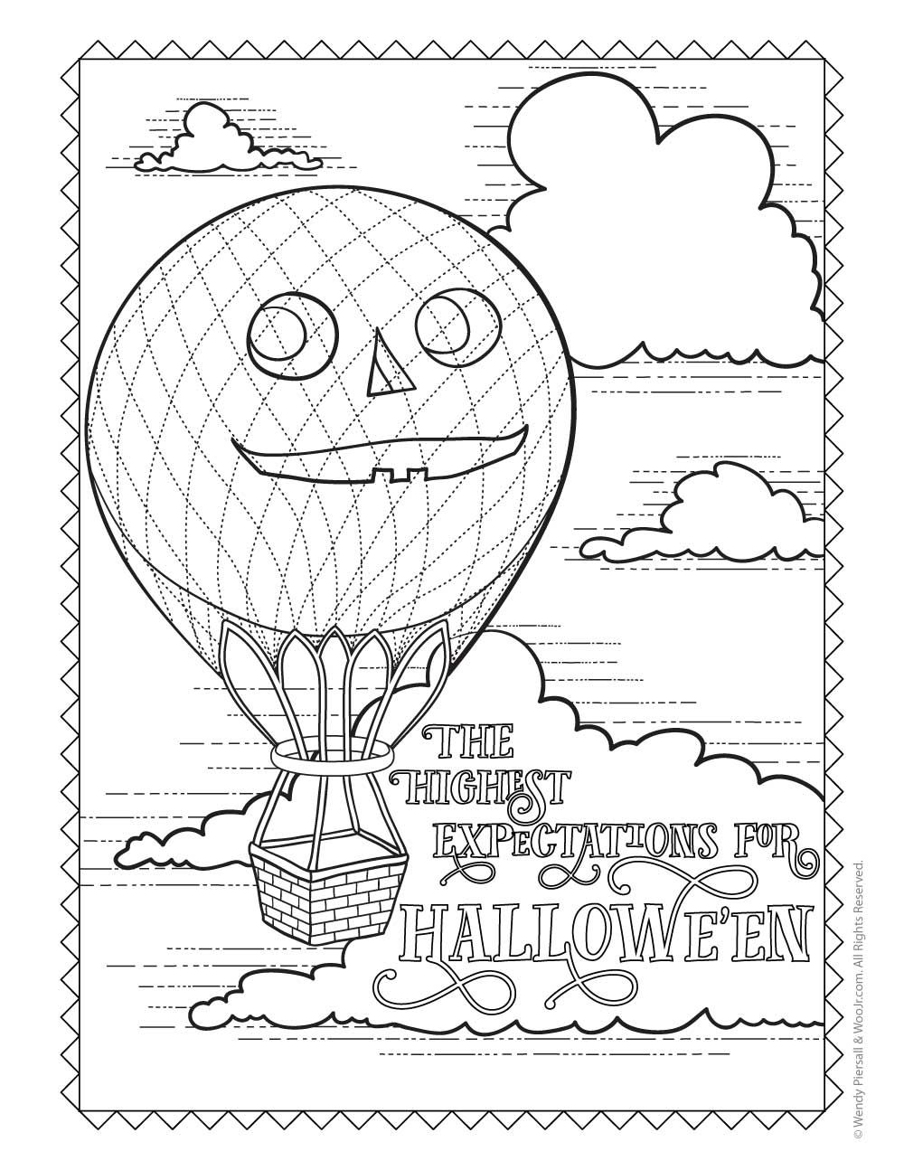 Antique Halloween Pumpkin Hot Air Balloon Coloring pages