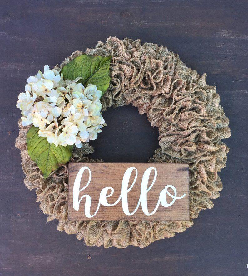 Photo of Burlap ruffle wreath, hydrangea wreath, wreath with hello sign, everyday wreath, burlap wreath, peasant wreath, natural burlap wreath