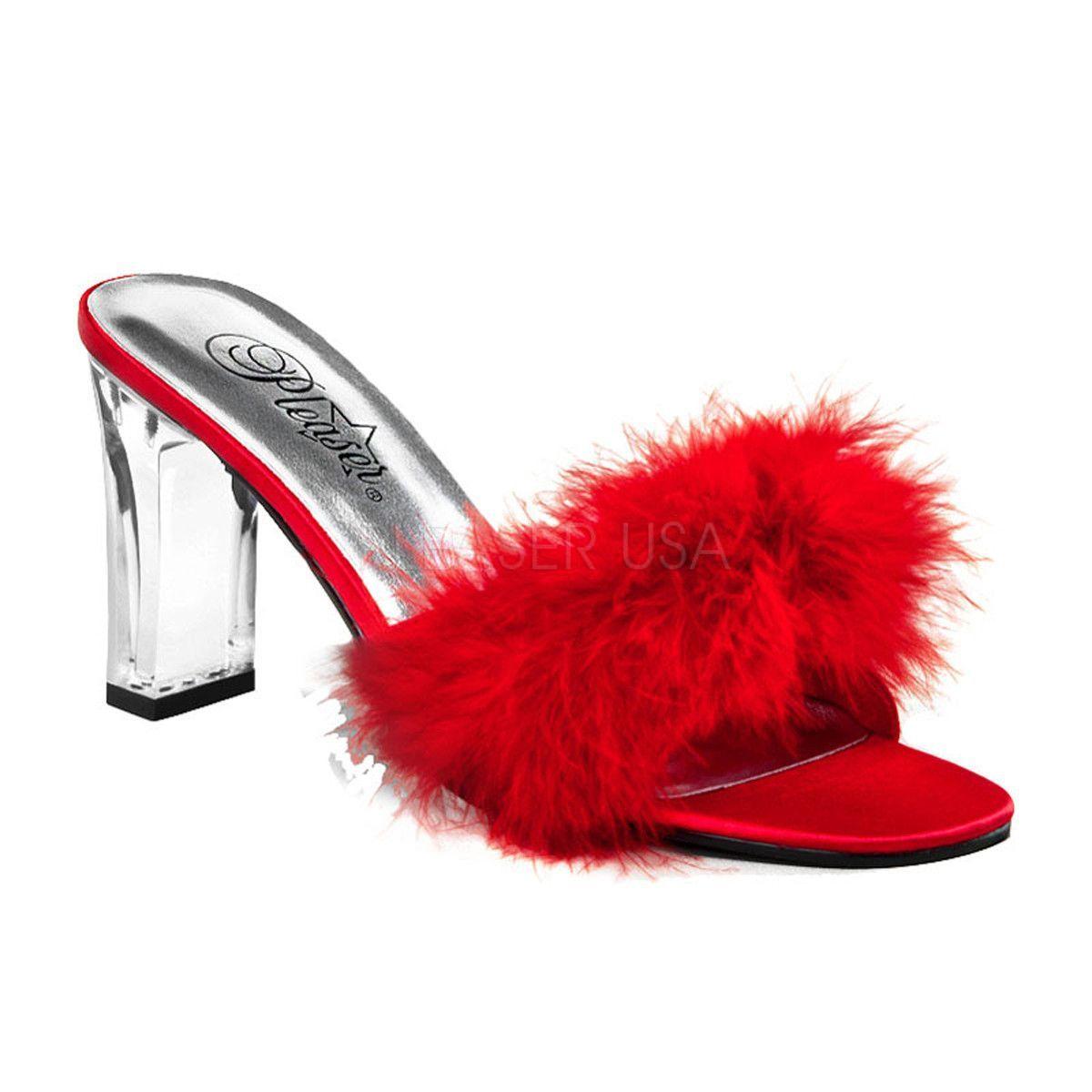 PLEASER FABULICIOUS Classique-01F  Pink Fur Trim Drag Queen Ladies Shoes Mules