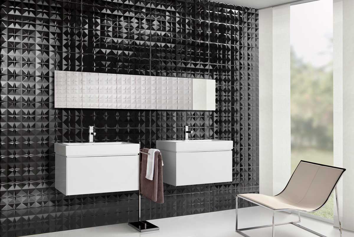 Combinaci n de azulejos negros y blancos con brillo y for Azulejos relieve bano
