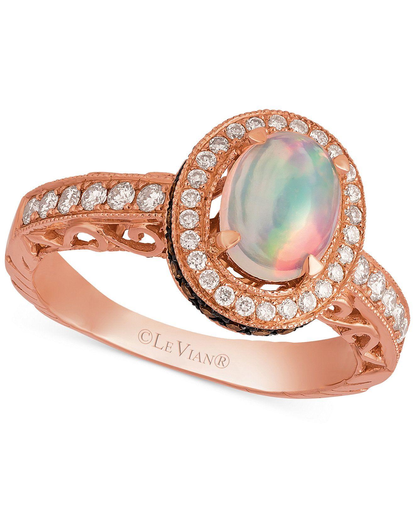 Le Vian Opal 2 3 ct t w and Diamond 5 8 ct t w Ring in 14k