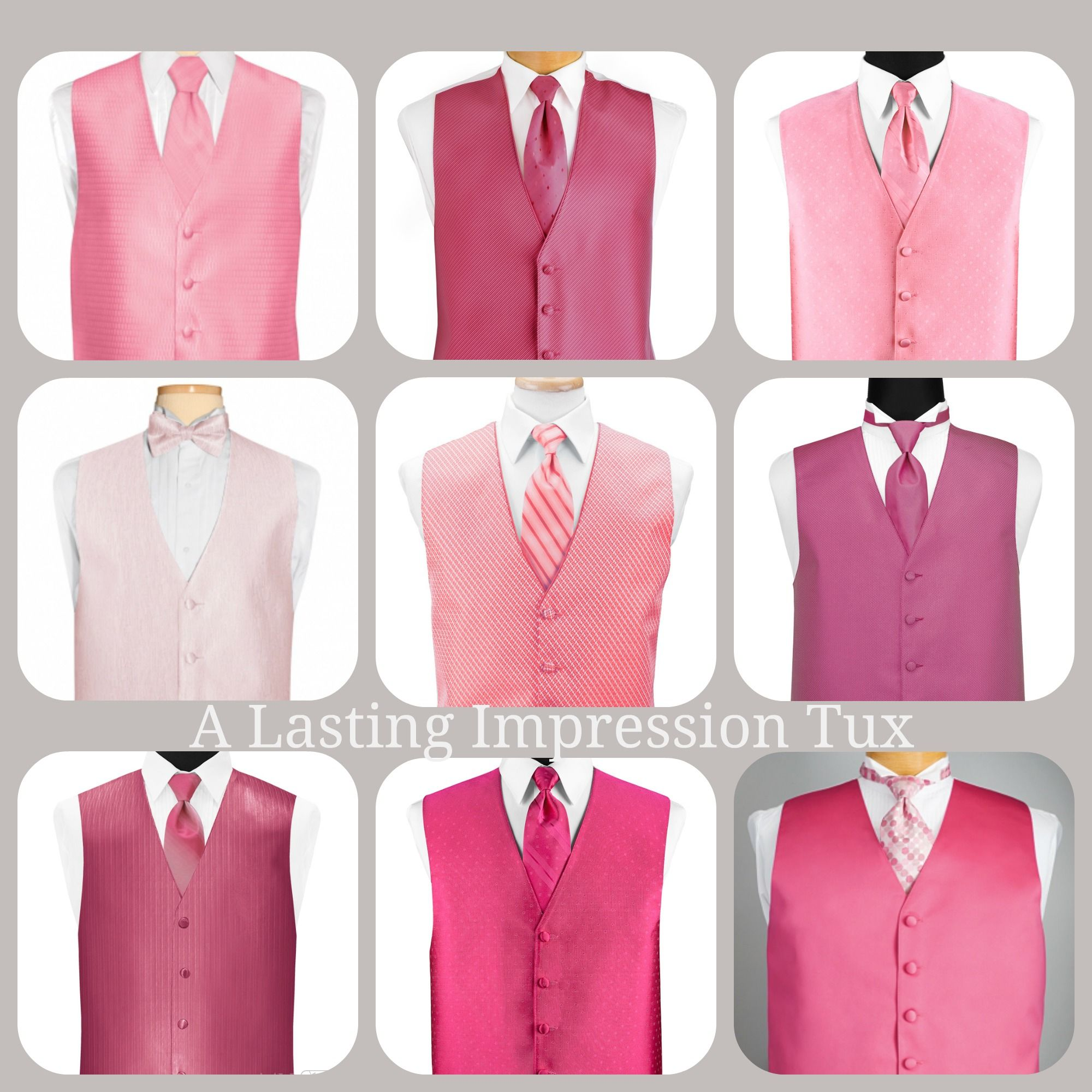 Pink vests have been very popular. They look great with a gray ...