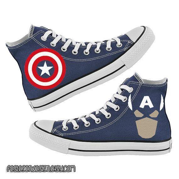 Captain America Converse   Cute shoes, Converse, Custom converse