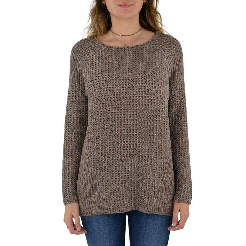 Michael Stars Lurex Multi Stitch Hi Low Sweater in Quicksand/Rose Gold