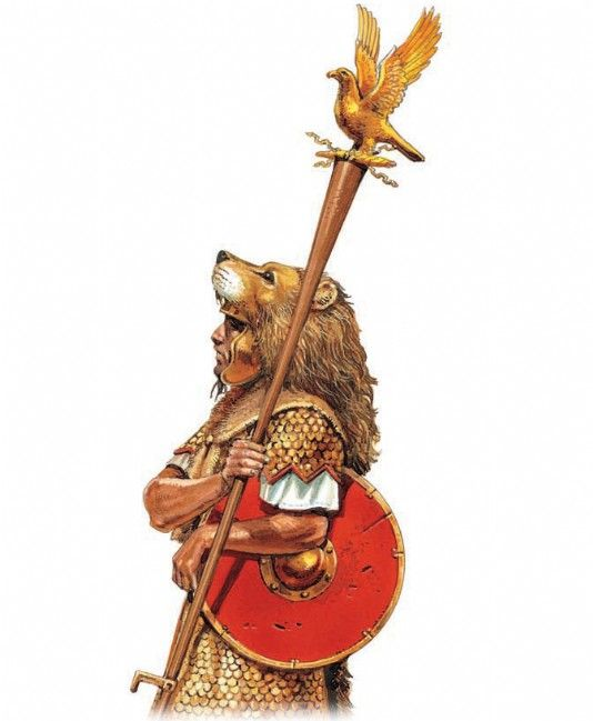 An aquilifer holds his eagle standard | Historical Armies: Archaic ...