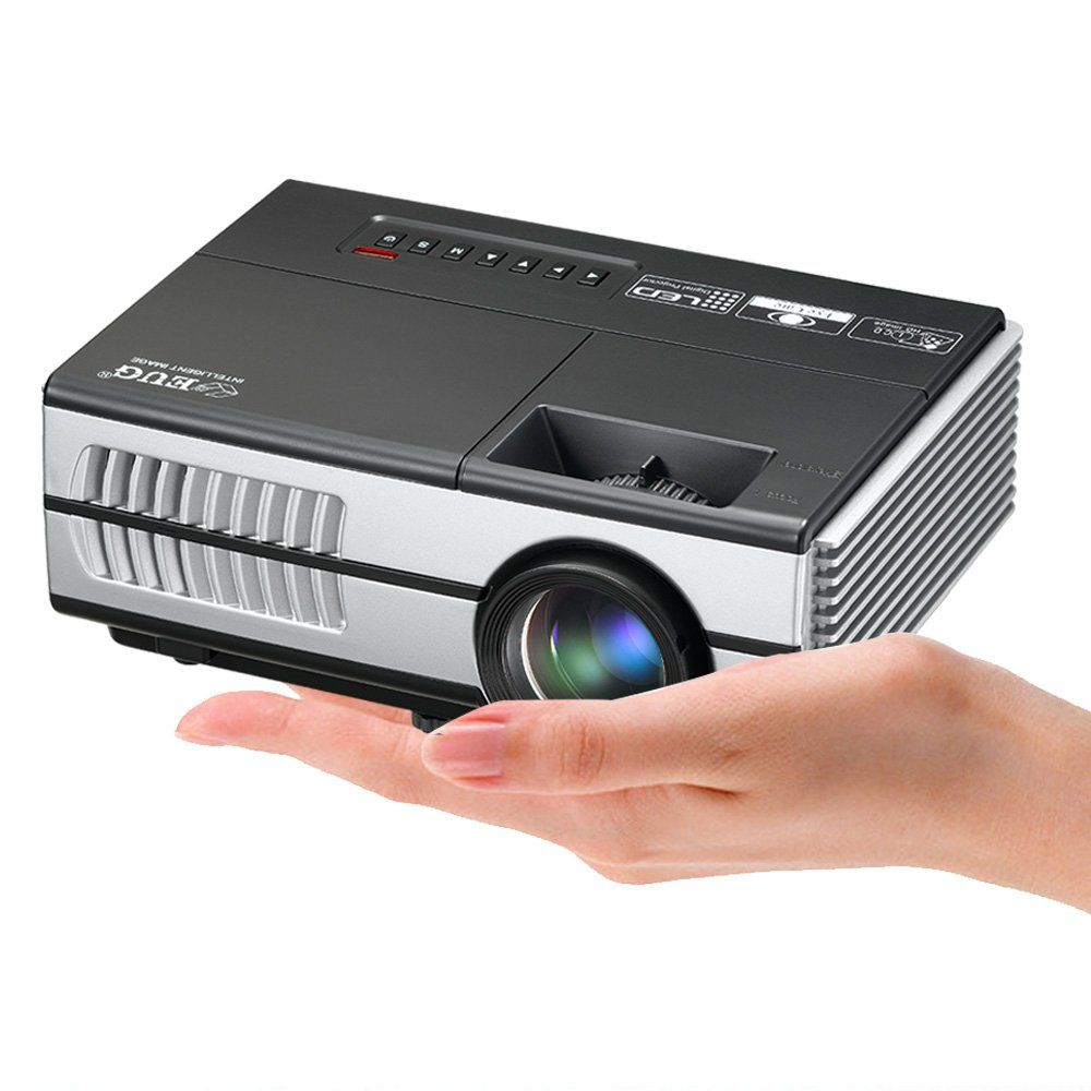 EUG 1500 Lumen Mini Portable LED Video Projector Home Cinema Gaming 1080P Support HDMI USB LCD Projectors for Phone TV DVD Laptop iPad
