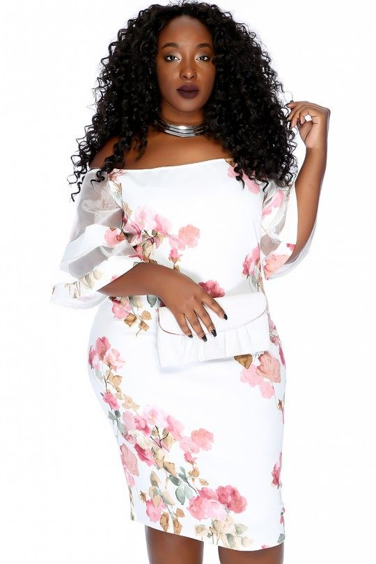 ba26075042 Sexy White Floral Print Off The Shoulder Sheer Short Bell Sleeve Plus Size  Bodycon Dress