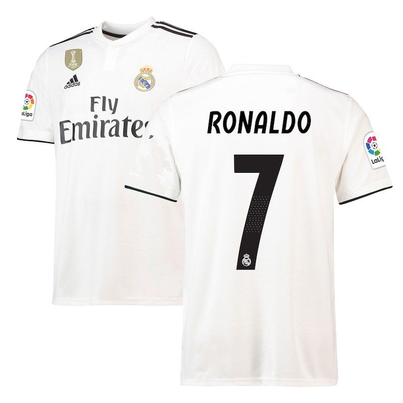539995f7f Cristiano Ronaldo Real Madrid adidas 2018 19 Home Replica Player Jersey –  White