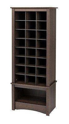Shoe Cabinet Organizer Tall Storage Cubby Wood Space Saver Cubbie Closet Shelf