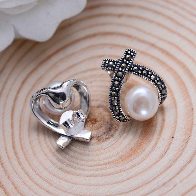 8dcffac86 S925 Sterling Silver Jewelry Retro Thai Silver Earrings Women pearl inlay  Mark Stone earrings [ED014] - $43.00 : Thailand Silver Jewelry- Silver  Jewerly ...
