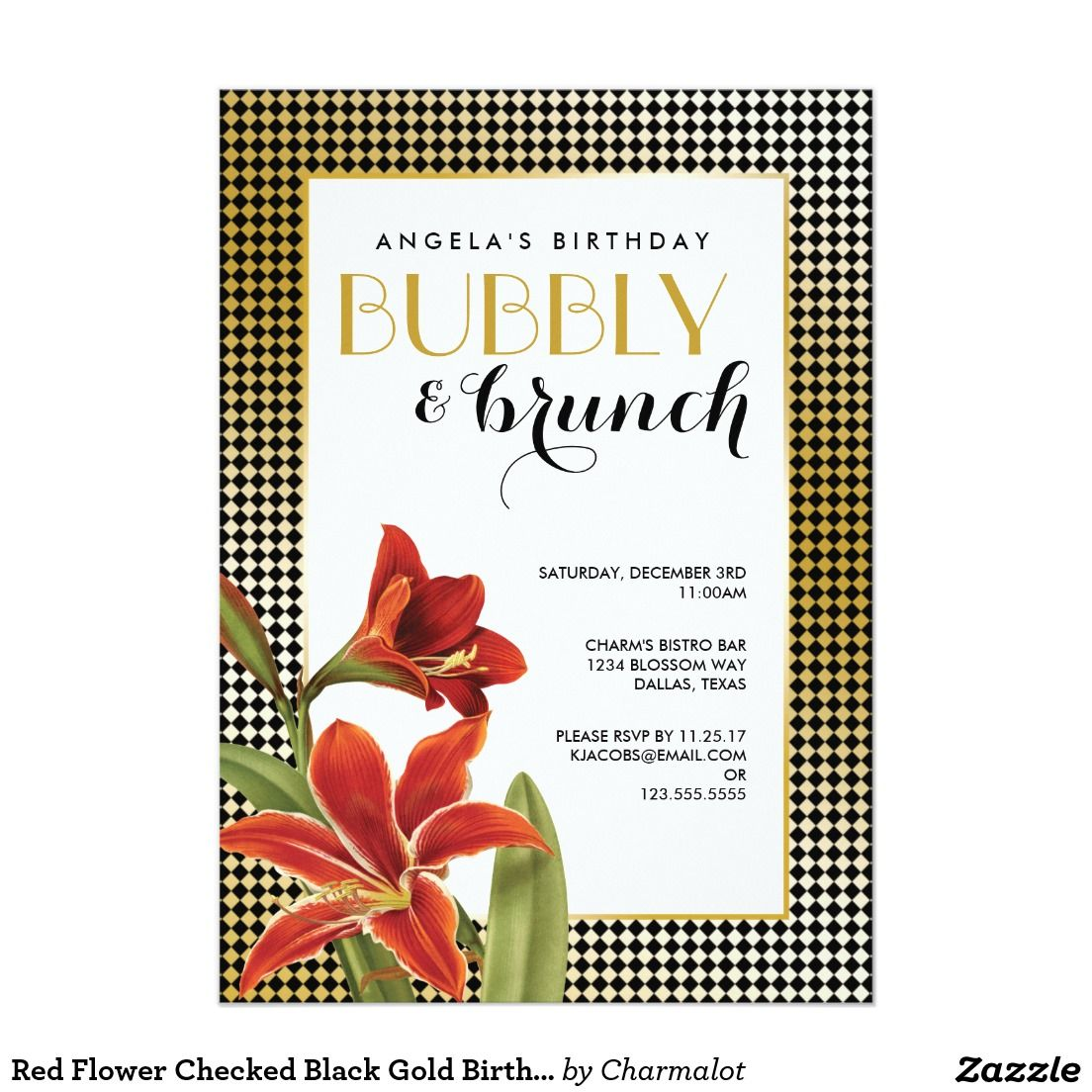 Red Amaryllis Flower Checked Gold Invitation | Bridal Brunch ...