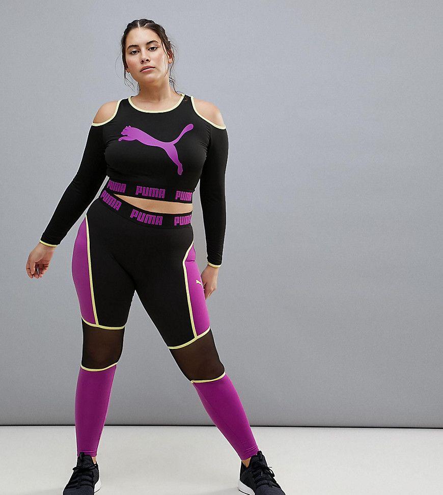 e0c76adb99340 Plus Size Activewear - Plus Size Puma Cold Shoulder Top and Leggings (plus  size)  plussize  plussizefashion  plussizeactivewear