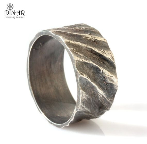 Hammered Wedding Band Oxidized Silver Wide Natural Earth Textured Ring Men S