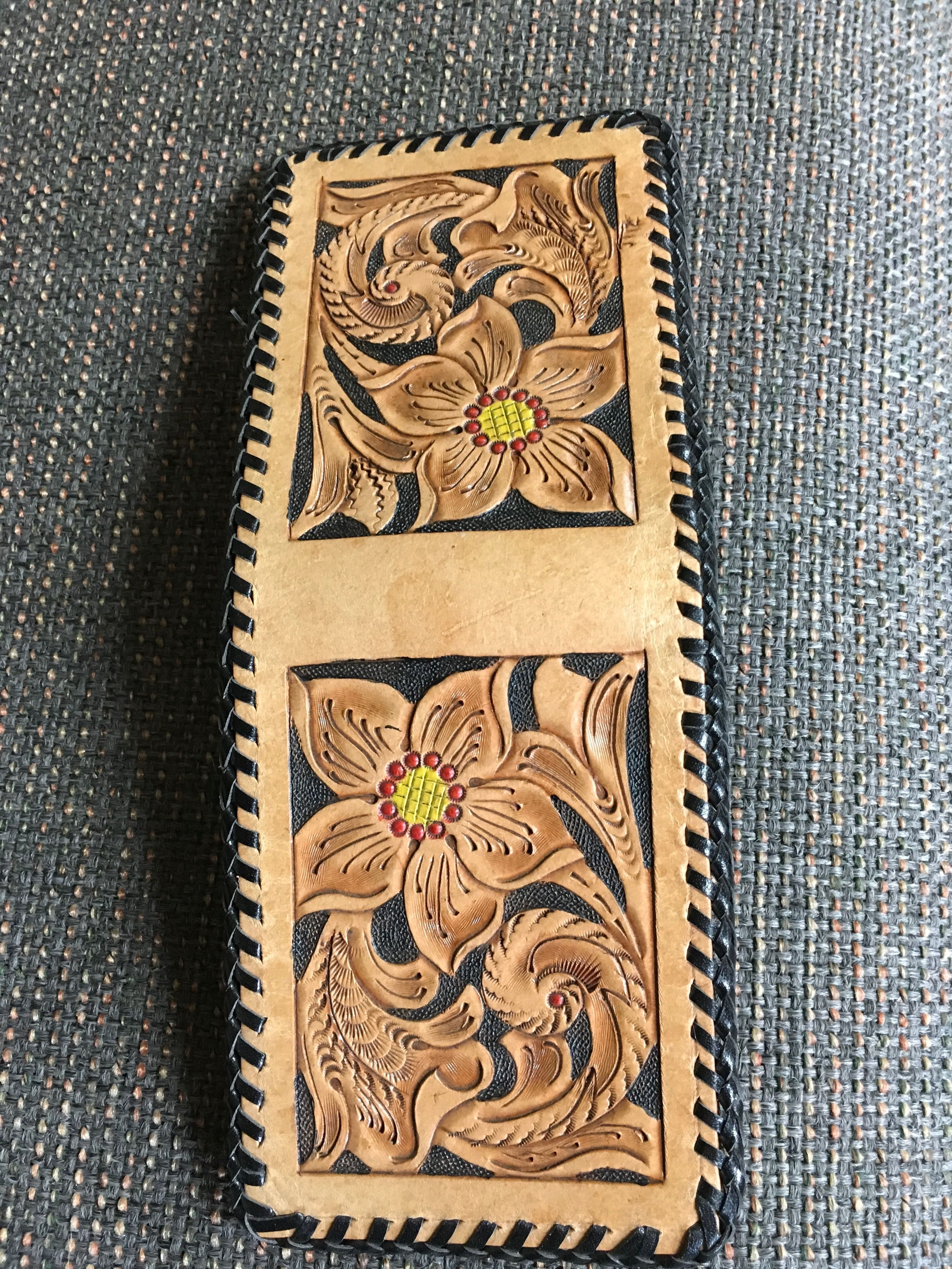 Custom tooled leather billfold wallet hand laced