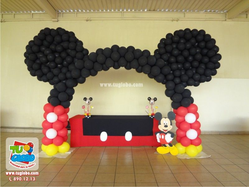 Arco de globos orejas de mickey mickey mouse clubhouse - Como adornar una mesa para navidad ...