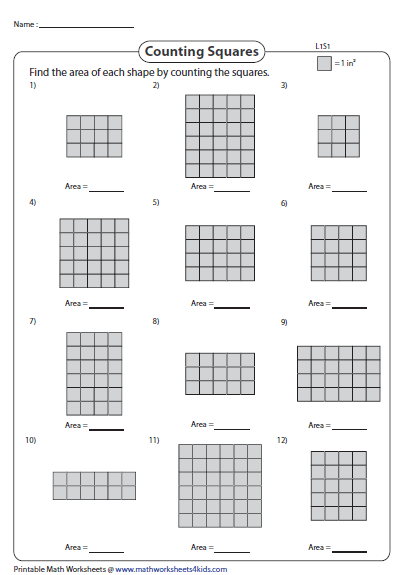 Counting Squares In Rectangles Rectangle Worksheets Pinterest